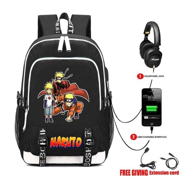 Naruto USB Charging Headphone Jack Travel Bag Backpack