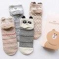 35-39caramella Mulheres Ankle Sock Stripe Algodão Panda Dos Desenhos Animados Urso Raposa Tacão Animal Presente de Aniversário Ano Novo Presente Caixa de Hansel