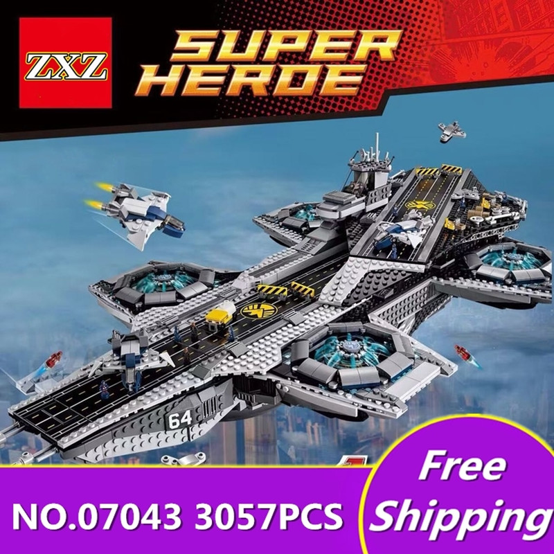 3057 Pcs Lepin 07043 Super Heroes The Shield Helicarrier Model Building Kits Blocks Bricks Toys Compatible with Legoingly 76042