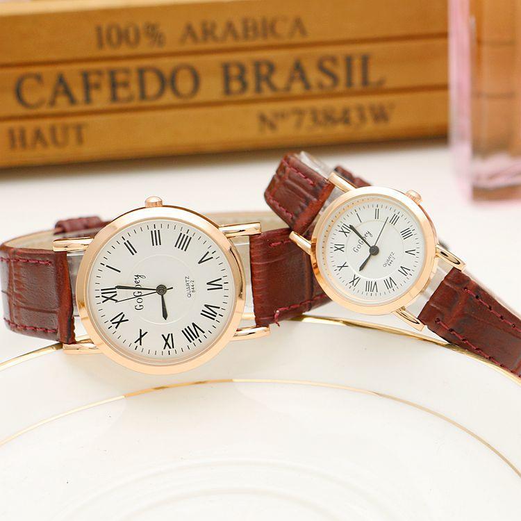 Hot Sales Gogoey Brand Roman Numerals Pair Watches Women Men Lover Couple Fashion Dress Quartz Wristwatch G844-2
