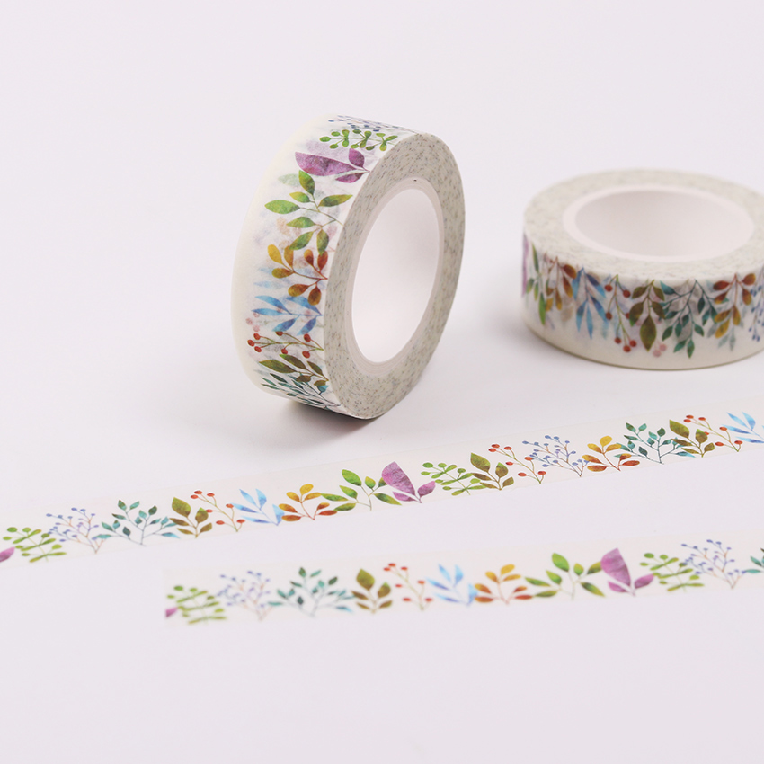 1.5cm X10m Herbaceous Plant Paper Washi Tape Diy Decoration Scrapbooking Planner Masking Tape Adhesive Tape Kawaii Stationery