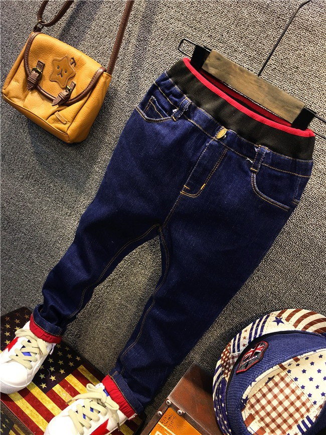 children boy autumn winter fleece warm jeans pants (5)