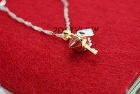 New Magic girl cherry agate birds head key pendant necklace cosplay jewelry gold,
