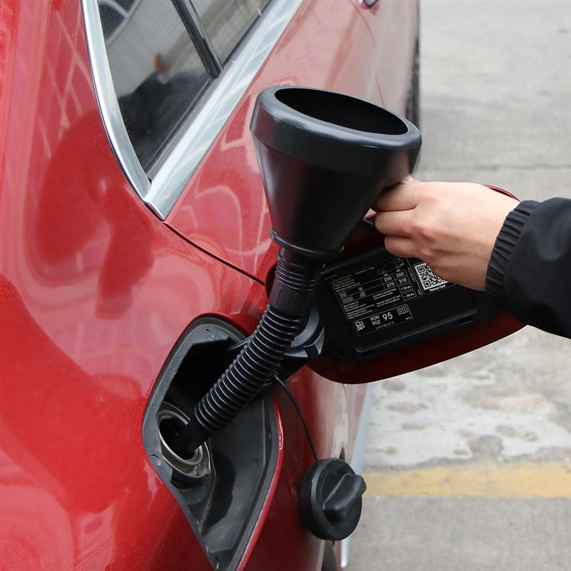 2 In 1 Black Plastic Flexi Funnel Can Spout For Oil Water Fuel Petrol Diesel