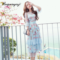 Good Quality Lace Voile Flower Embroidery Dress Women Summer Elegant See Through Sexy O Neck Beach