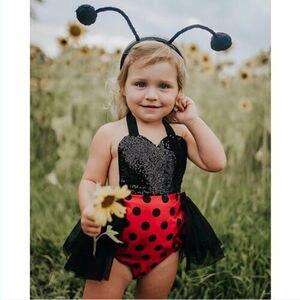 Кружевное платье-пачка с рисунком «божья коровка» для новорожденных девочек в Великобритании, повязка на голову, летняя одежда, комбинезон ...