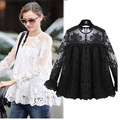 Summer Women Chiffon Crochet Lace vest Blouse Shirt Sexy Open Back Full sleeve shirt tank tops Black Blusas Femininas