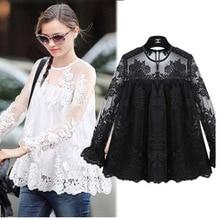 Summer Women Chiffon Crochet Lace vest Blouse Shirt Sexy Open Back Full sleeve shirt tank tops Black Blusas Femininas