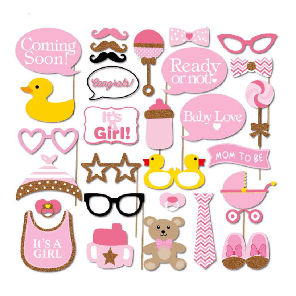 Buy 30pcs set baby shower photo booth for Baby shower foam decoration