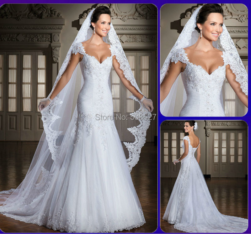 Beaded Wedding Dress With Detachable Train: Robe De Mariee Custom Made Applique Beaded Tulle A Line