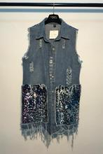 Spring New Denim Vest Medium-Long Women Summer Sequined Vest Turn-down Collar Coat Denim Sleeveless Jacket