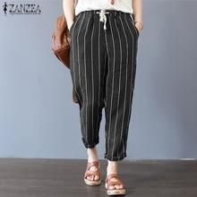 8e7085e82cb 2018 ZANZEA Women Elastic Waist Pockets Casual Loose Stripe Harem Pants  Cotton Linen Trousers Summer Work