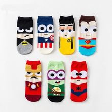 Super hero 1 paar Cartoon kinderen Tieners korte sokken jongens kids mannen Amerika Captain volwassen Boot sok spiderman Cartoon 23- 27cm(China)