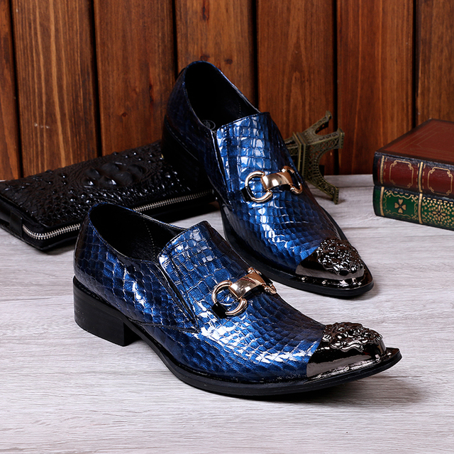 c529214a7c46 2017 Newest Wedding Shoes Men Fashion Casual Party Dress Shoes Pointed Toe  Navy Blue Loafers Shoes plus size