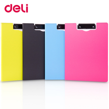 Deli A4 colorful fashionable vertical/horizontal folding board clip board horizontal paper folding clip folder Plate clamp цена
