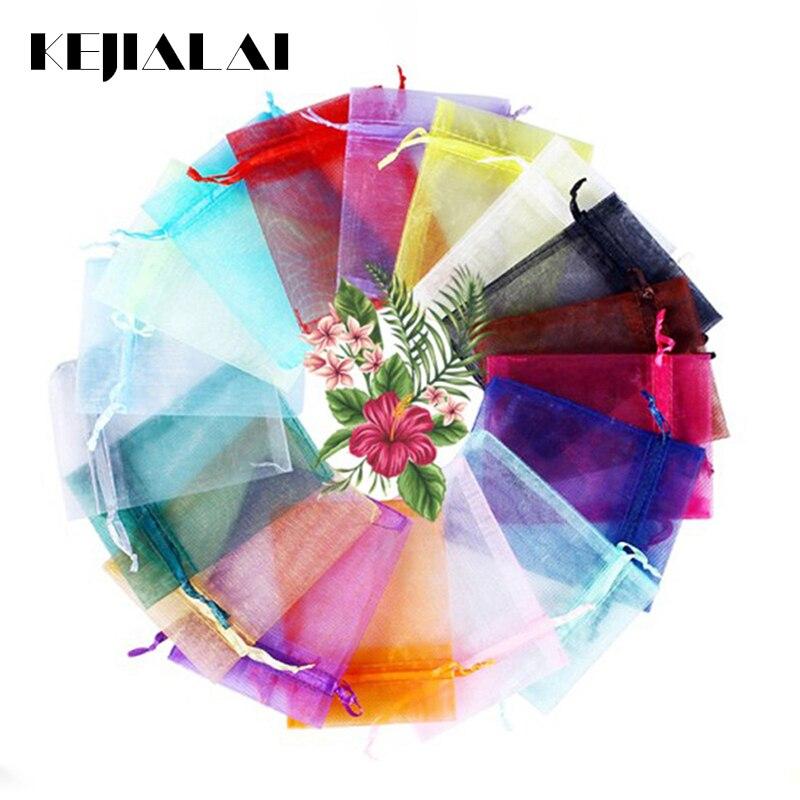 Kejialai 7x9 10x12 10x15 13x18cm 50 pçs 17 cores saco de jóias presente de casamento organza jóias saco de exibição embalagem malotes de jóias