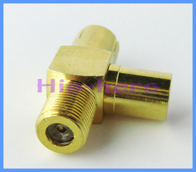 10pcs/lot free shipping F female Jack to IEC PAL DVB-T TV male/female jack splitter 3 way goldplated connector adapter