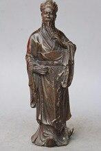 Chino antiguo Latón Tres Reinos Famoso Estratega Zhuge Liang KongMing arte Estatua