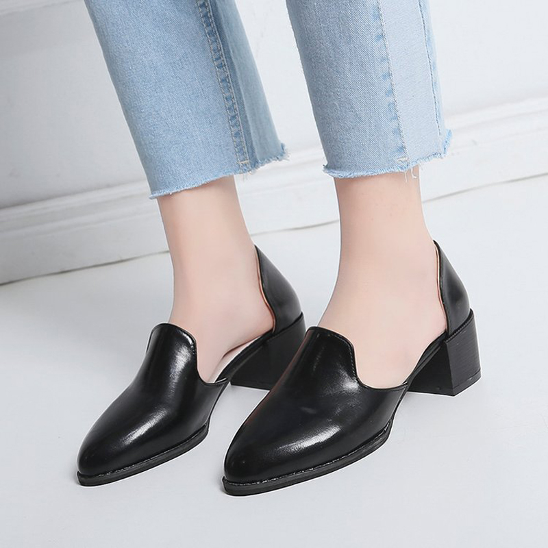 2019 Spring/Autumn Women Shoes Leather Pumps High Heel Casual Shoes Fashion Pointed Slip-on Shallow Shoes Woman Plus Size 35-43
