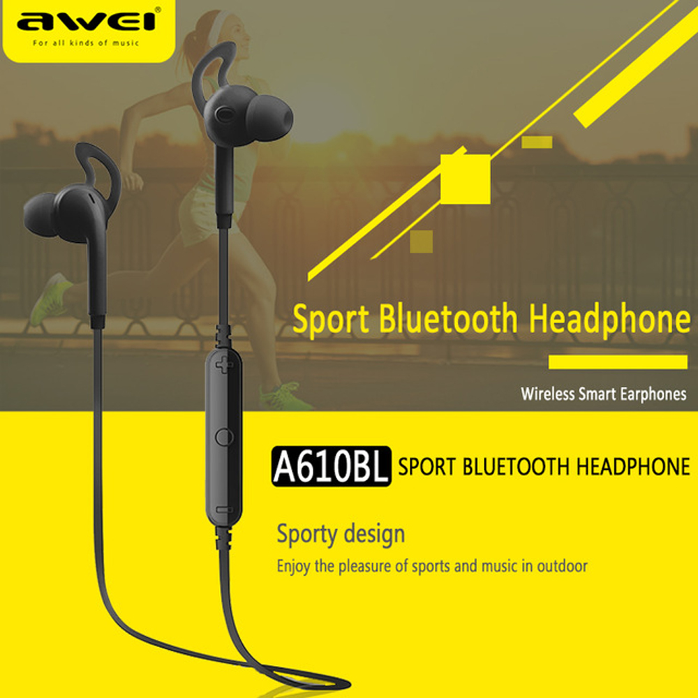 Awei A610BL Stereo Sport Earbud Earpiece Auriculares Bluetooth Headset Earphone For In Ear Phone Bud Cordless Wireless Headphone 2 in 1 mini bluetooth headset phone usb car charger auriculares micro earpiece kopfhorer wireless earphone for samaung galaxy s7