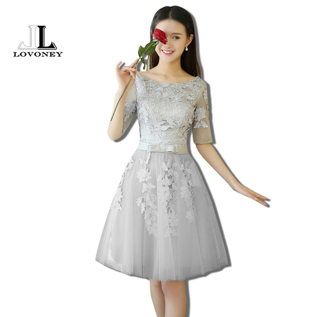 LOVONEY T411 Real Photo A Line O Neck Short Prom Dresses 2017 ...