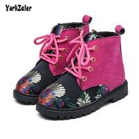 Yorkzaler Autumn Winter Children S Shoes Embroidery Geometry Kids Martin Boots Toddler Flats High Top Kids