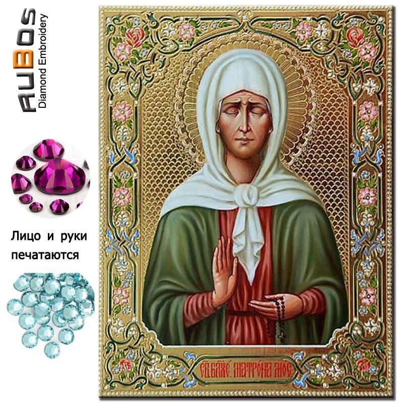 RUBOS Icona Matrona Moskovskaya di Diamante Del Ricamo Diamante Mosaico di Religione Religioso FAI DA TE 5D Mestiere Perline di Cristallo Drill Decor Regalo