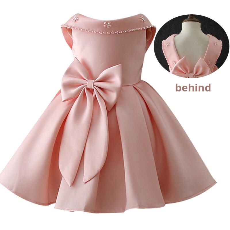 Атласное платье для первого причастия для маленьких детей; блестящее бальное платье; Пышное Платье; Платья с цветочным узором для девочек на свадьбу; платье для банкета сзади - Цвет: pink