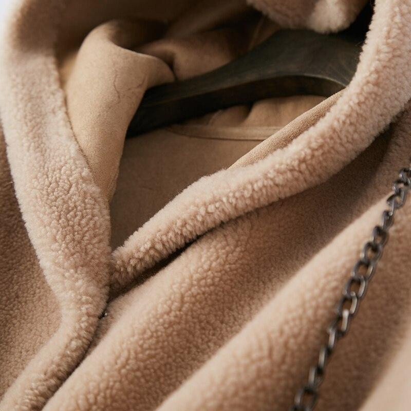 Laine black Manteaux Vestes Qualité Réel Veste De Fourrure pink Épais Style Color Femelle White light caramel Supérieure Femmes Hiver Mouton Chaud blue Lâche Camel 2018 Coréenne wHOqTYY