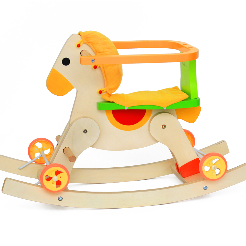 Wooden Rocking Horse with Removeable Safety Surround on the Seat Children Furniture Wood Child Chair Rocking Rocker for Ages 1-3 hi ce new arrival mechanical horse kawaii animal ride on horse lion rode on horse kids toy for children adult new year gifts