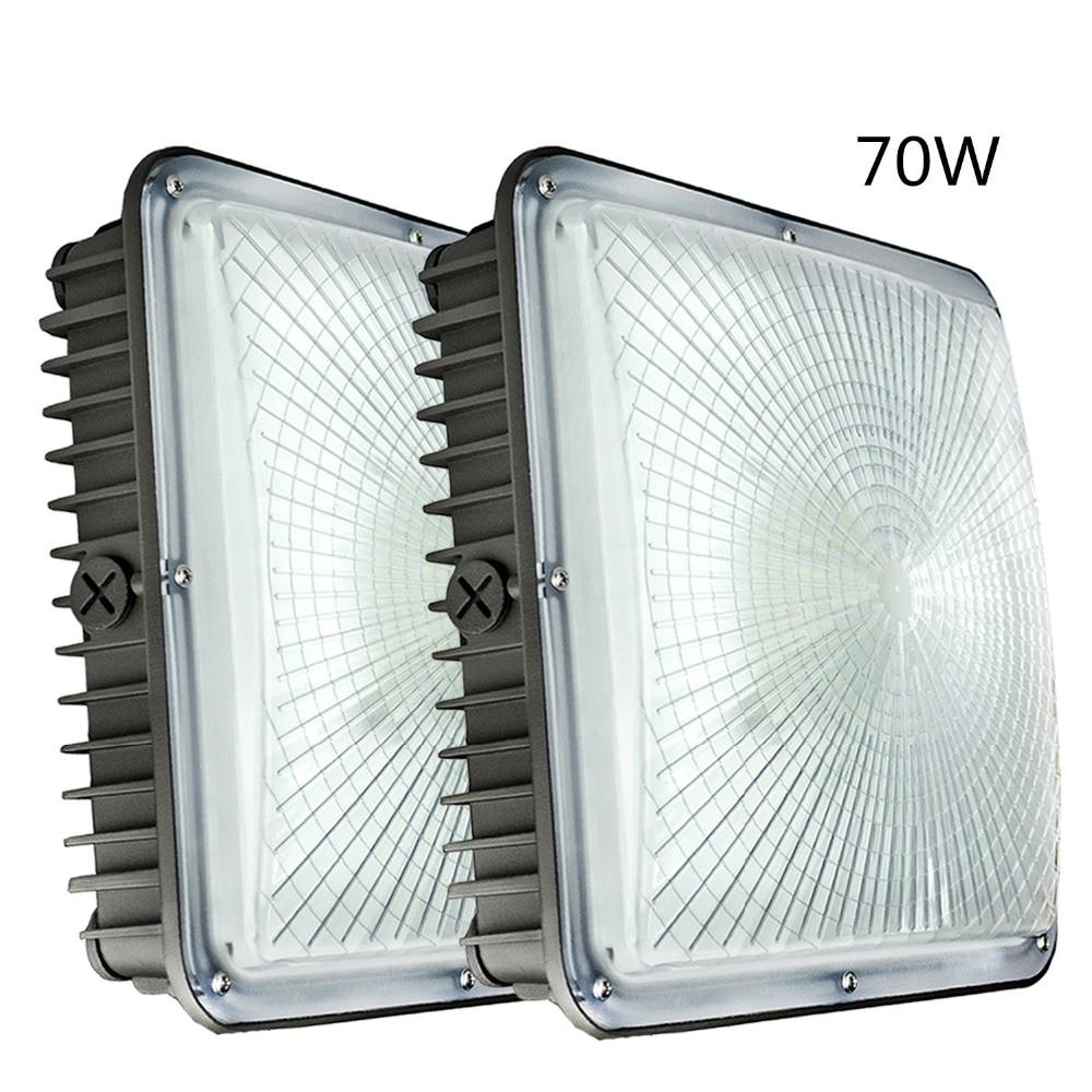 2 بسته LED Canopy Light ، 70W 7700LM ، ورودی 120V-277V ، 5500k فوق العاده روشن سفید ، انبار آمریکا ، برای پمپ بنزین ، گاراژ ، پارکینگ