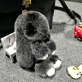 2017 10 color Play Dead Rabbit Fur Rabbit Bunny Keychain Fashion fur pom pom keychain Rabbit Toy Doll Hanging Pendant 13cm