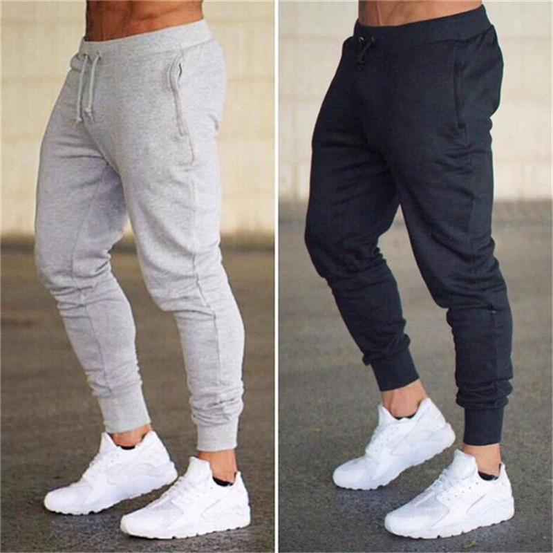 New Sportswear Fitness Pants Casual Polyester Mens Fitness Workout Pants Skinny Sweatpants Trousers Jogger Pants