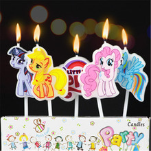 5pcs/lot My Little Pony Party Supplies Kids Birthday Candles Evening Party Decorations Set Birthday Wedding Party Cake Candles