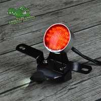 Retro motorcycle modified custom universal small round aluminum alloy CNC tail lamp rear light license bracket E8 certificate