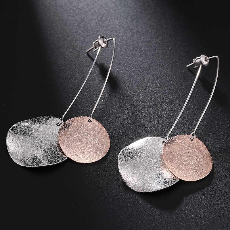 Fashion Oorbellen Logam Sederhana Payet Emas Anting-Anting untuk Wanita Pendientes Mujer Moda Orecchini Perhiasan Panjang Anting-Anting Anting-Anting Brincos