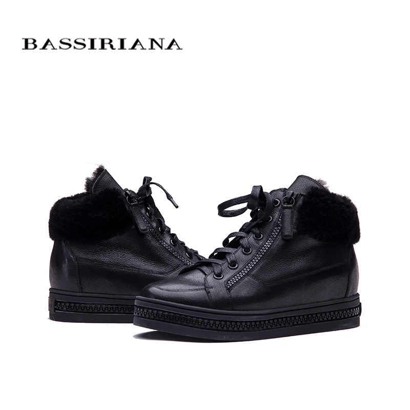 BASSIRIANA Kadın Oxfords Yeni Kış deri Dantel Up yüksekliği artan astarı Yuvarlak Ayak Rahat Bayanlar platform ayakkabılar Kadın siyah