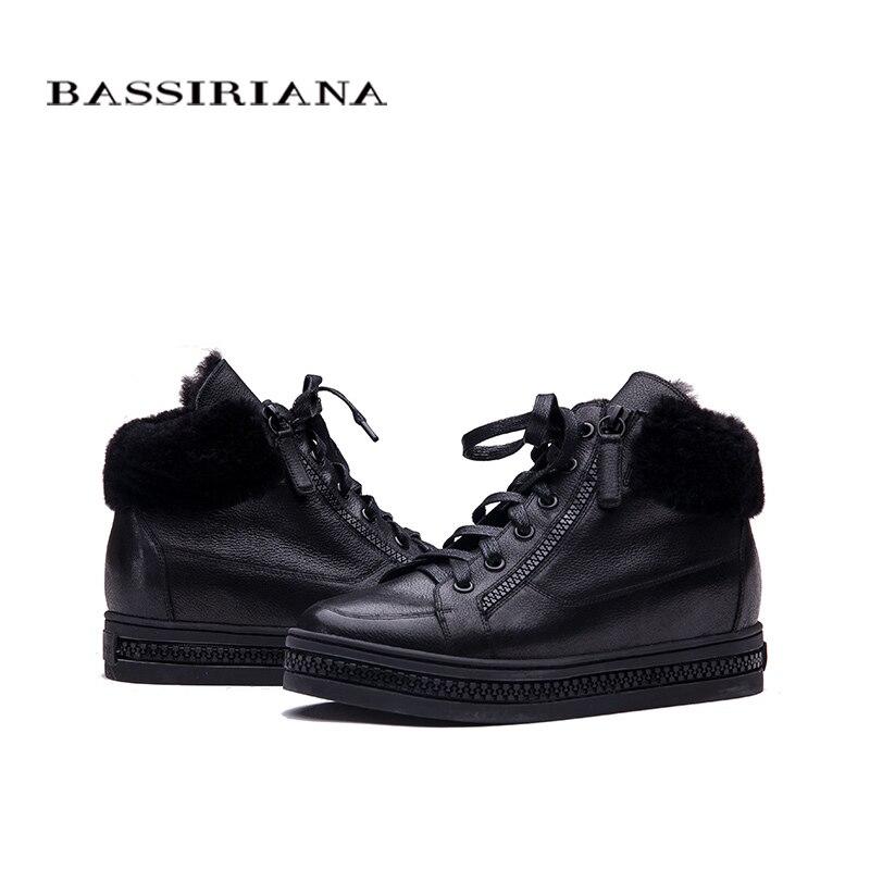 BASSIRIANA النساء أوكسفورد جديد الشتاء الجلود الدانتيل متابعة الارتفاع زيادة نعل جولة اصبع القدم عارضة السيدات أحذية منصة امرأة الأسود-في أحذية الكاحل من أحذية على  مجموعة 3