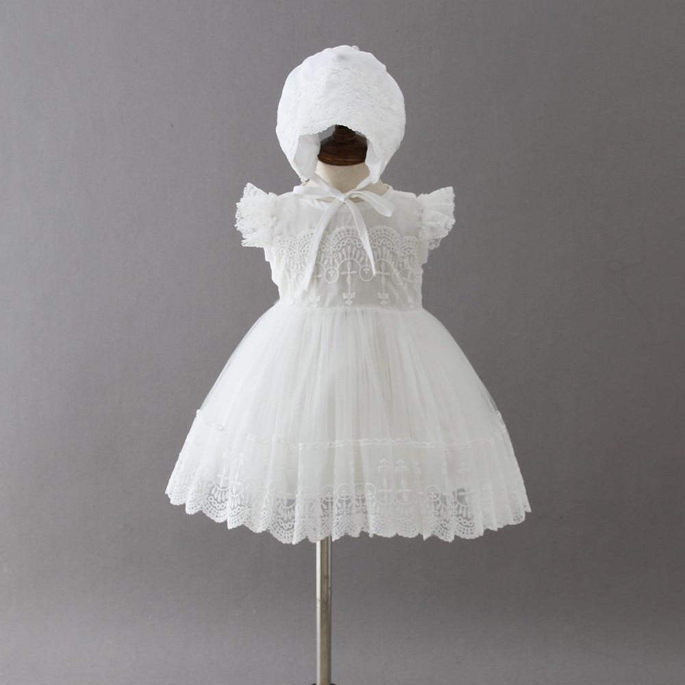 2ebb53f6d4a5f BBWOWLIN الصيف الوليد طفلة اللباس الملابس الدانتيل الأبيض الأميرة اللباس مع  كاب الطفل الأولى عيد ميلاد حزب الزي فتاة 8001