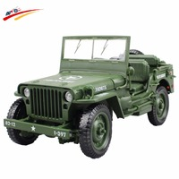 Alloy Diecast 1:18 For Jeep Military Tactics Car Model Opening Hood Panels To Reveal The Engine For Children Gift Toys