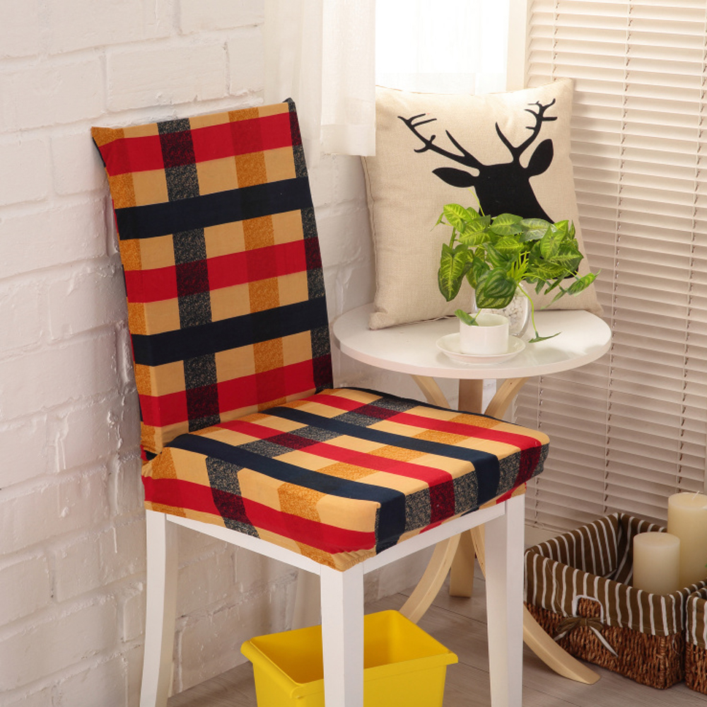 Yazi 6PCS Chair Cover Colorful Grid Super Fit Stretch Polyester Washable Dining  Room Slipcover Dustproof Protector
