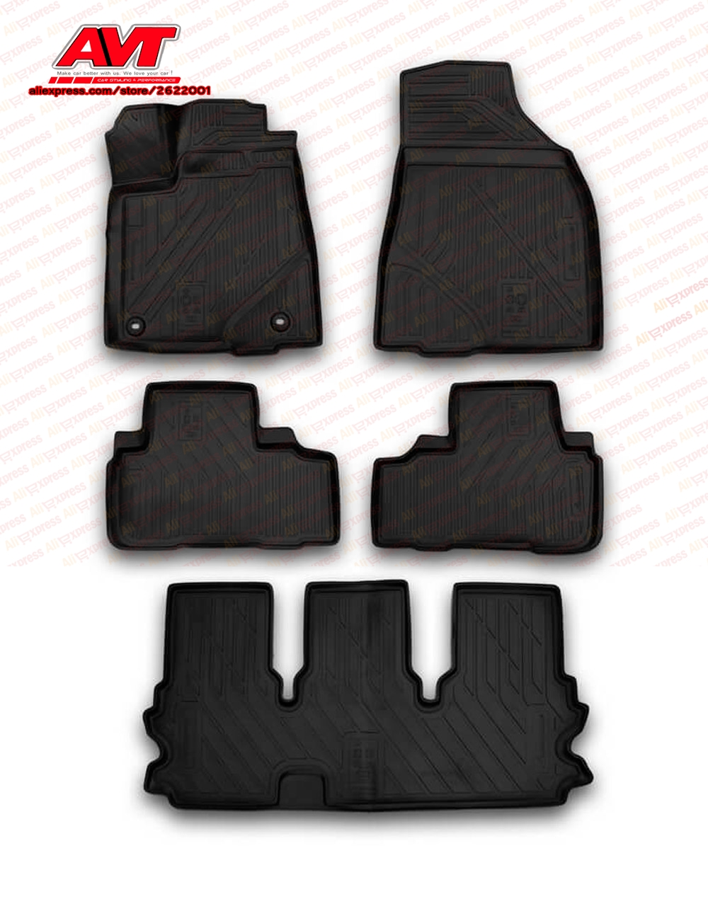 Floor mats for Toyota Highlander 2014- 5 pcs rubber rugs non slip rubber interior car styling accessories