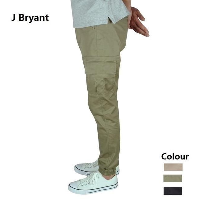 b40f52cf94a917 Mens Joggers Summer Thin Fabric Stretch Elastic Khaki Cargo Jogger Pants Men  Fashion Pockets Casual Pencil Cuffed Cotton Trouser