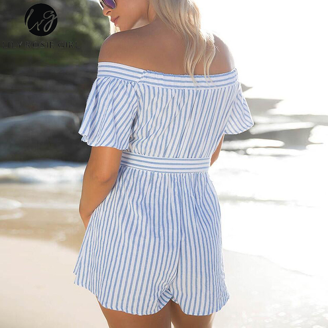 Lily Rosie Girl Women 2017 Sky Blue Off Shoulder Sashes Plaid Romper Casual Broadcloth Combinaison Femme Playsuits Overalls