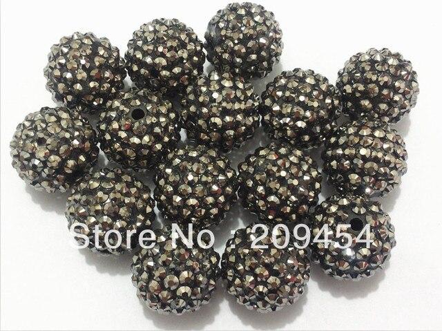 Wholesale 22mm 100pcs lot Hematite Resin Rhinestone Beads a982f832bdb5