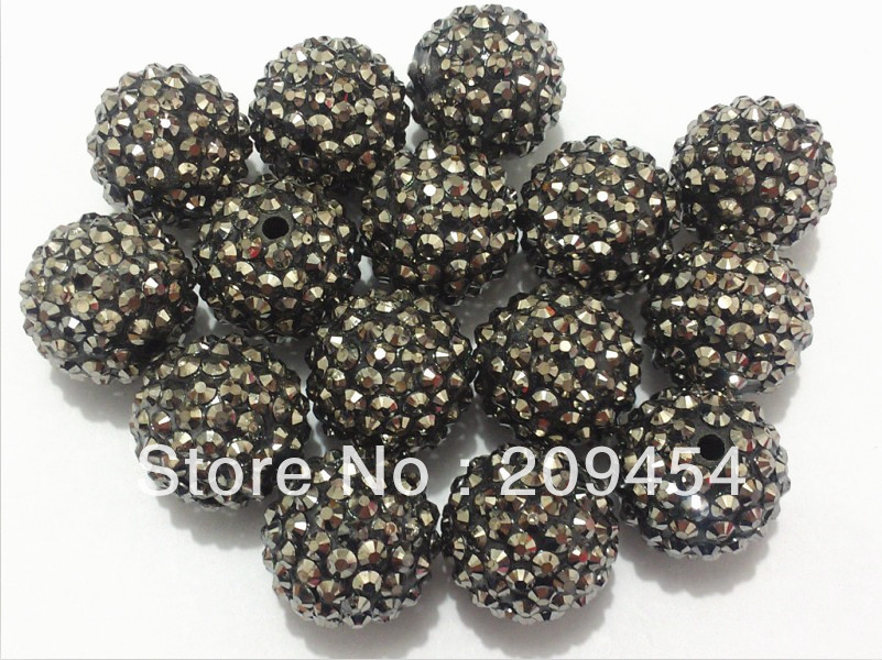 Wholesale 22mm 100pcs/lot Hematite Resin Rhinestone Beads,Chunky Beads For Jewellery Making