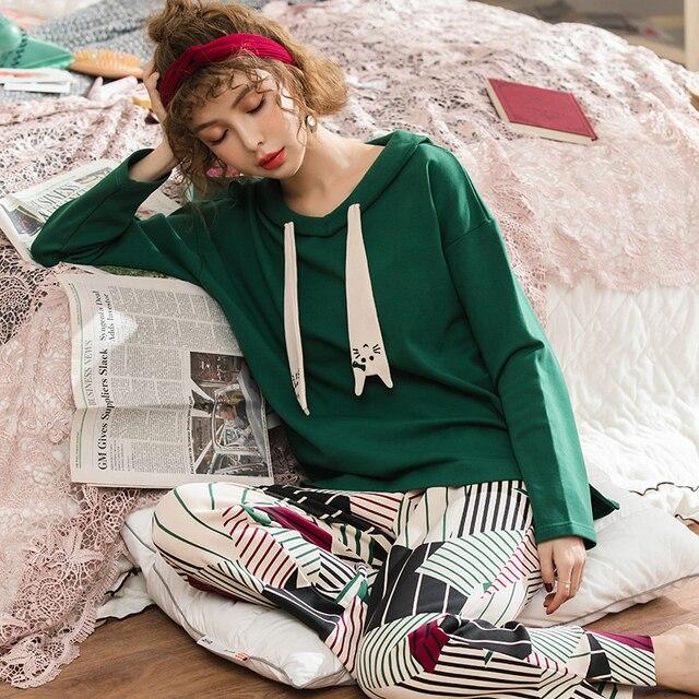 0e871b6288 2018 Autumn Winter Long Sleeve Pajamas Women Suit Girl Pijamas Mujer 100%  Cotton Home Cloth Leisure Loose Lovelys Women s Sets