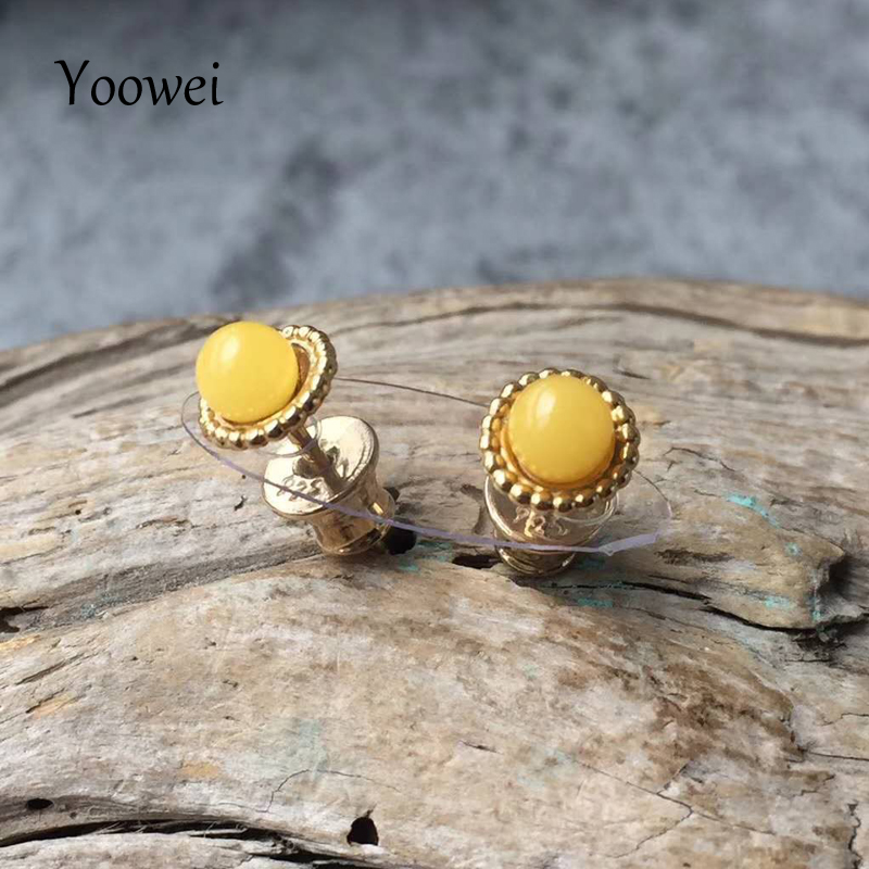 Yoowei Natural Amber Earrings for Women Gifts Round 4mm Small Chic Stud Earrings OL Style Trendy Baltic Amber Jewelry Wholesale