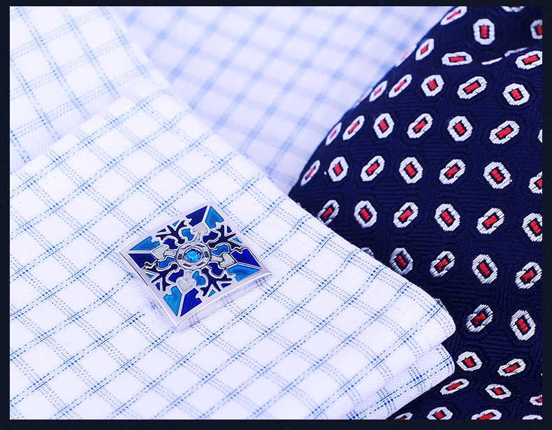 KFLK camisa abotoaduras para o Presente dos homens 2019 de Luxo Marca botões de punho Azul esmalte abotoaduras masculino abotoaduras de Alta Qualidade jóias