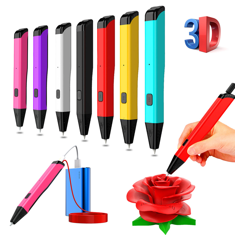 PCL 3D DIY Pen LED Screen USB Charging 3D Printing Pen Drawing Pen Creative Gift Toy for Kids Design